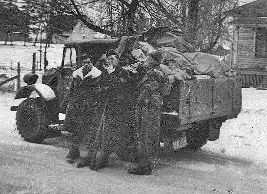 "Ford Pilot Model F15 serving with Linc & Welland Regiment, January 5 1941 Lieutenant Arnott Hume (""Pete"") Stevens on the right. He is my father."