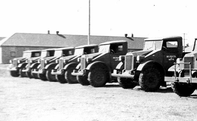 Pilot Model Ford 4x2 15 Cwt trucks lined up at Dundurn, Saskatchewan (Royal Westminster Regiment Museum photo)
