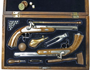 Reproduction -  Ardesa 1871 Duelling Pistols. matched pair in case.