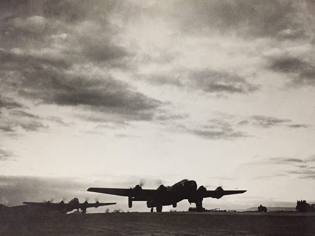 "Believed to be 424 Squadron Halifax bombers. (Photo via ""Doc"" Cumbers. Original photo by Sport & General Press Agency, Limited, London [England] )"