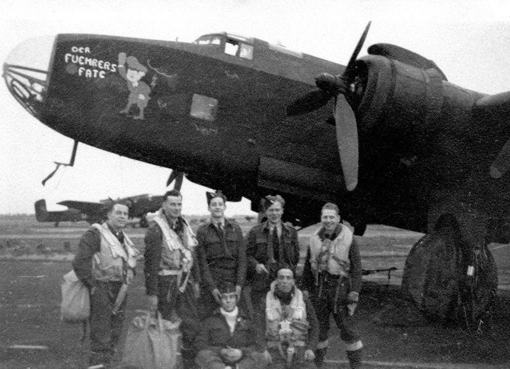 """DER FUEHRERS FATE Lightning & crew no machine gun in the nose. """"On the job 1944"""""""