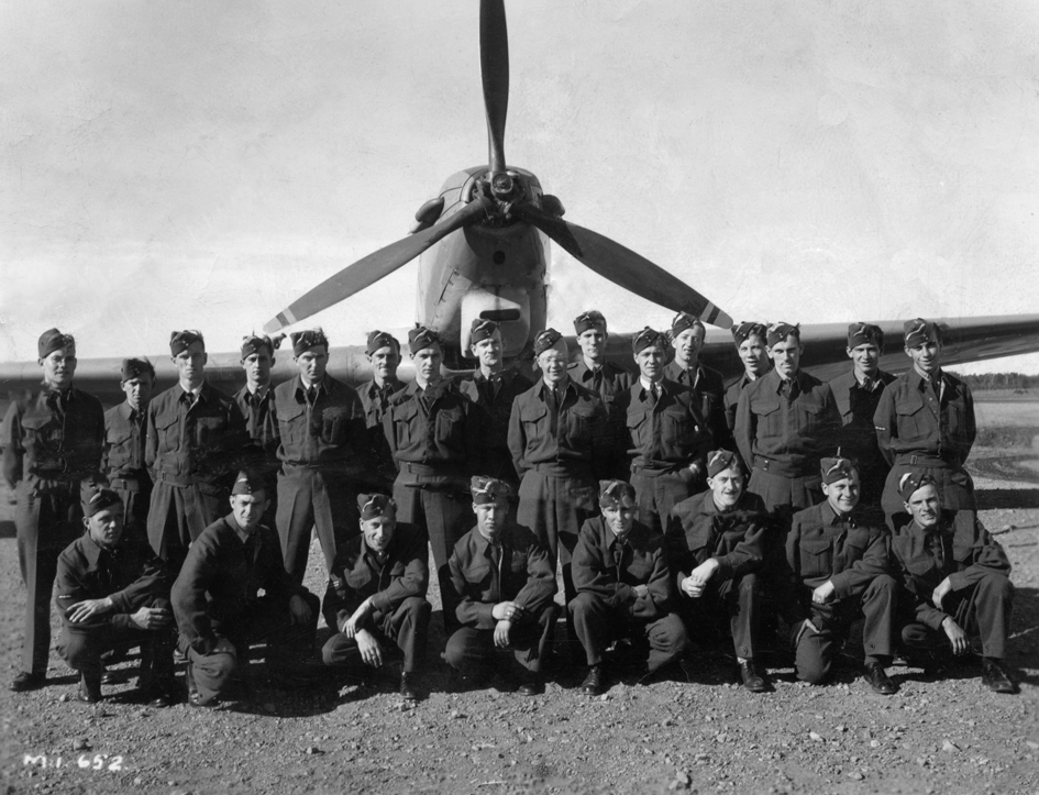 J. W. Cumbers' class Mount Joli, Quebec 1942 Fairey Battle. Cumbers is at the rear,  far right. Original photo was badly damaged to it has been digitally repaired.