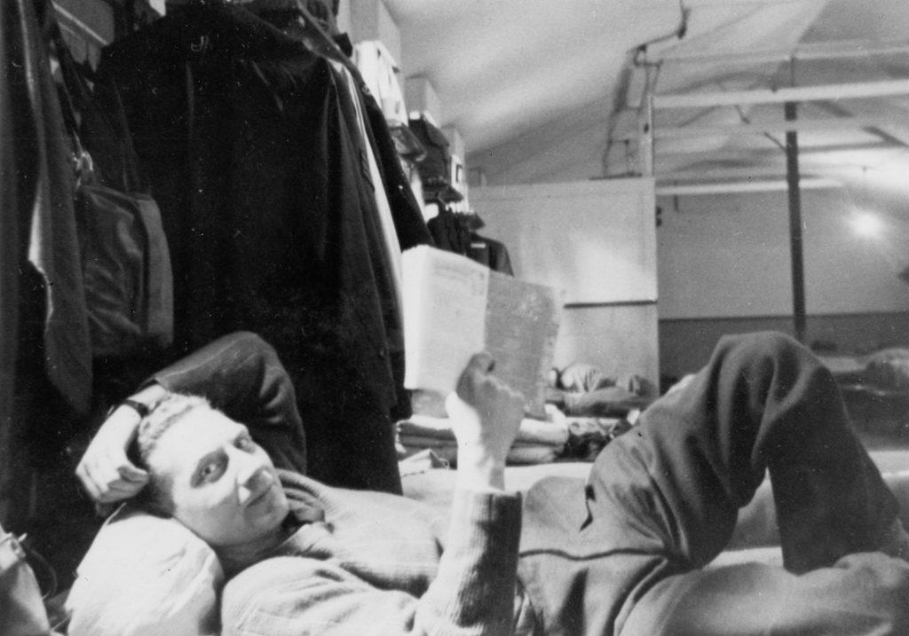 Pilot Herb Kirkly aka Kirk lying on his cot.