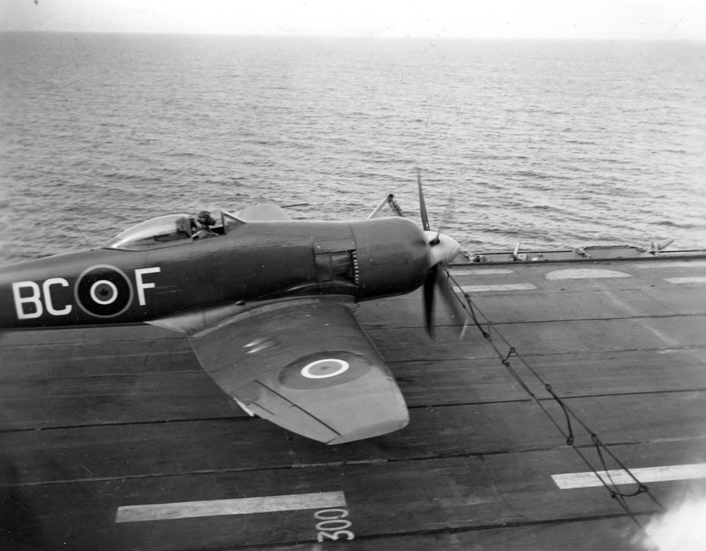 RCN Sea Fury BC-F TF996 just running into the barrier.