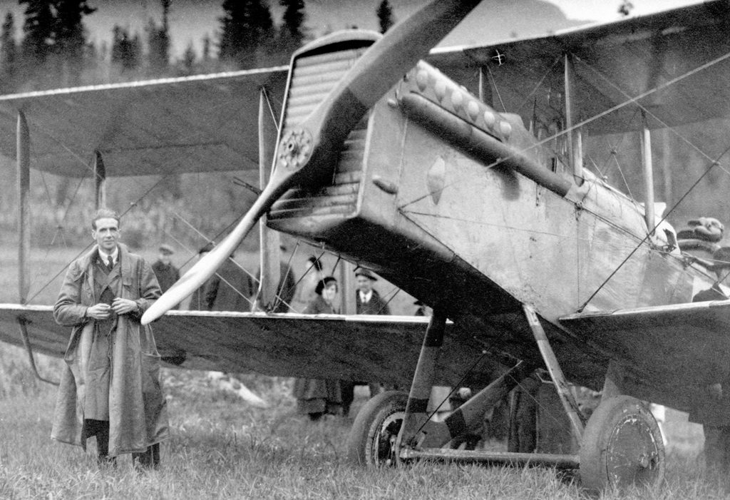 DH-9A on the first Trans-Canada Flight. Stopover at Revelstoke, British Columbia, October, 1920.