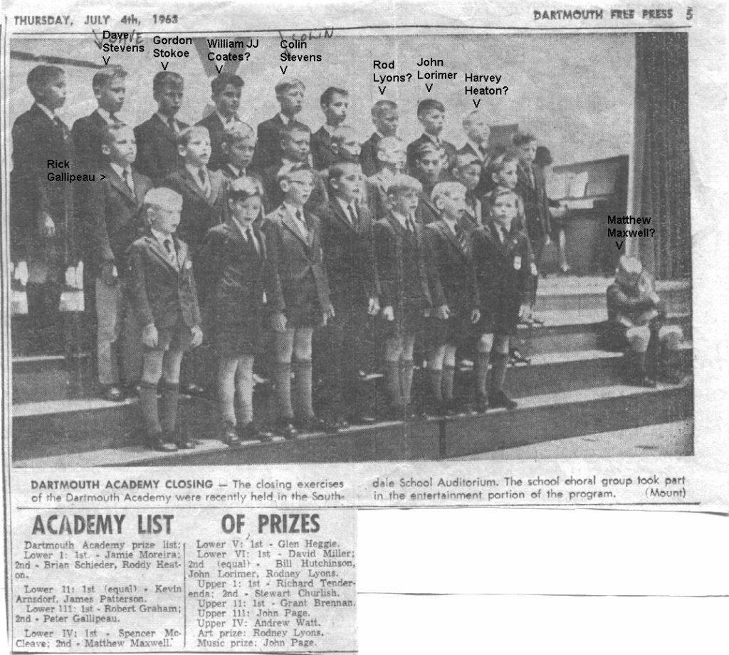 Dartmouth Academy Choir JULY 1963