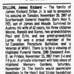 Dillon's obituary.