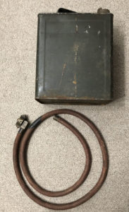 Vickers MG water hose and can set, complete. WWII pattern Original 1942 can made by GSW in Canada. Original hose made by Dunl;op with original brass quick detachment fitting.