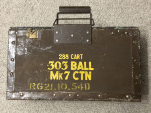 """Ammunition box for .303"""" cartridges. Marked for boxes of 48-rounds but could also be used for belted ammunition for Vickers MG."""