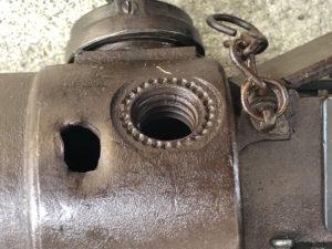 MG 08 15 121b showing the battle damage (hole on left)