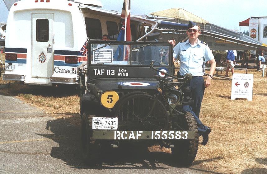 Captain Colin Stevens with 1944 WIllys MB (SN VDN-1121) at Abbotsford International Air Show, August 2000. The jeep was painted in Tactical Air Force markings.