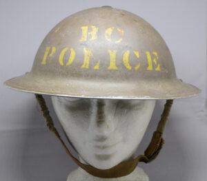 RARE British Columbia Police 1941 helmet CL/C - front