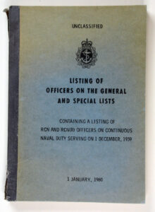 Listing of Officers on the General and Special Lists 1 Jan 1960 RCN & RCNR