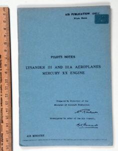 Lysander III and IIIA Pilot's Notes REPRINT (1)
