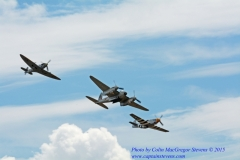 Spitfire, Mosquito and P-51 fly-past. 2015