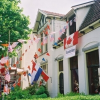 Flags and thank you sign for the veterans Apeldoorn 2005