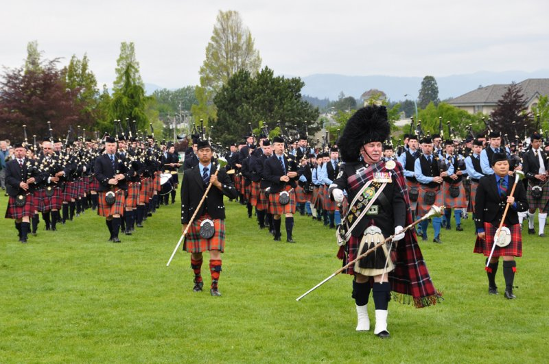 Husband and wife Massed pipe bands at the Highland Games Victoria 2012 May